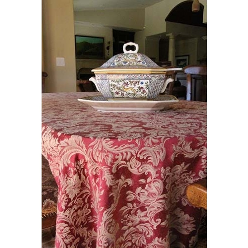 "90""x132"" Oval Miranda Damask Tablecloth"