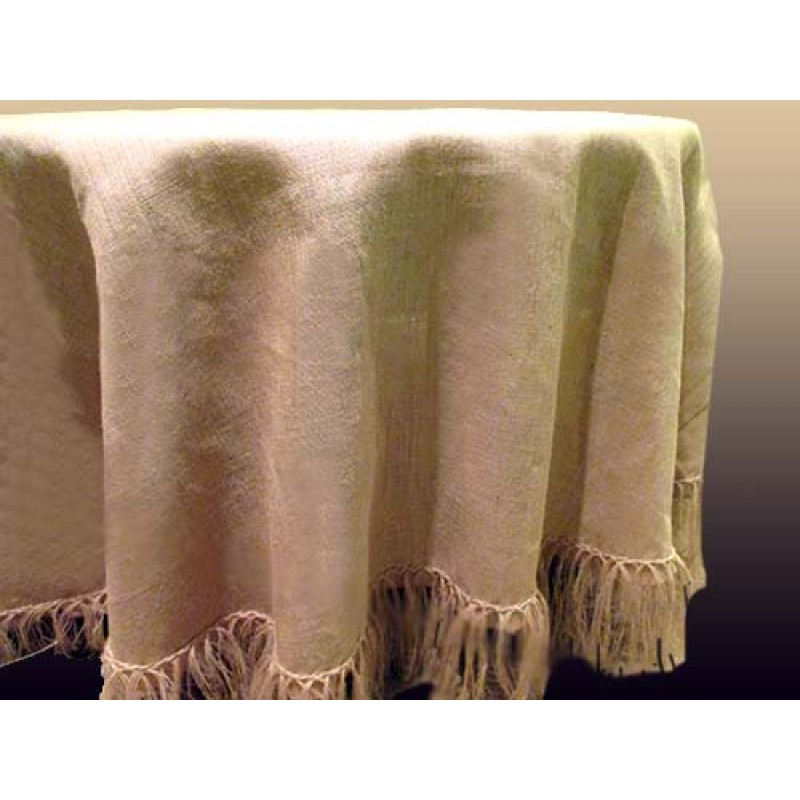 Round 90 Inch Burlap Tablecloth With 5 Inch Fringe