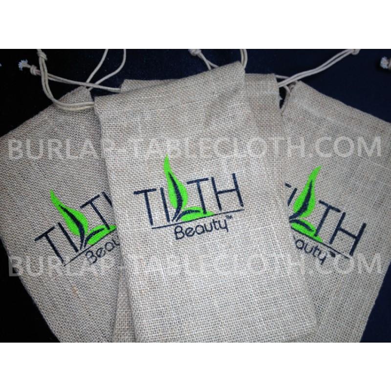 Screen Printed burlap-Bags 6 x 10 logo