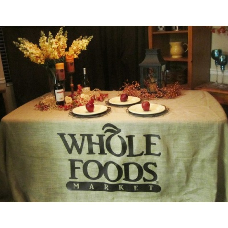 Burlap tablecloth display with logo