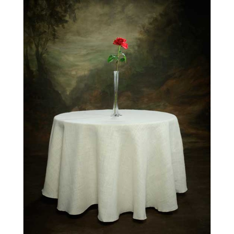 White 120 Round Tablecloth I Burlap Boutique