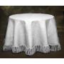"120"" White Burlap Tablecloth With Fringe"