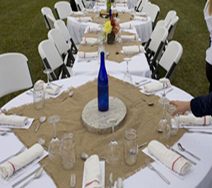 Burlap Squares and napkins on table