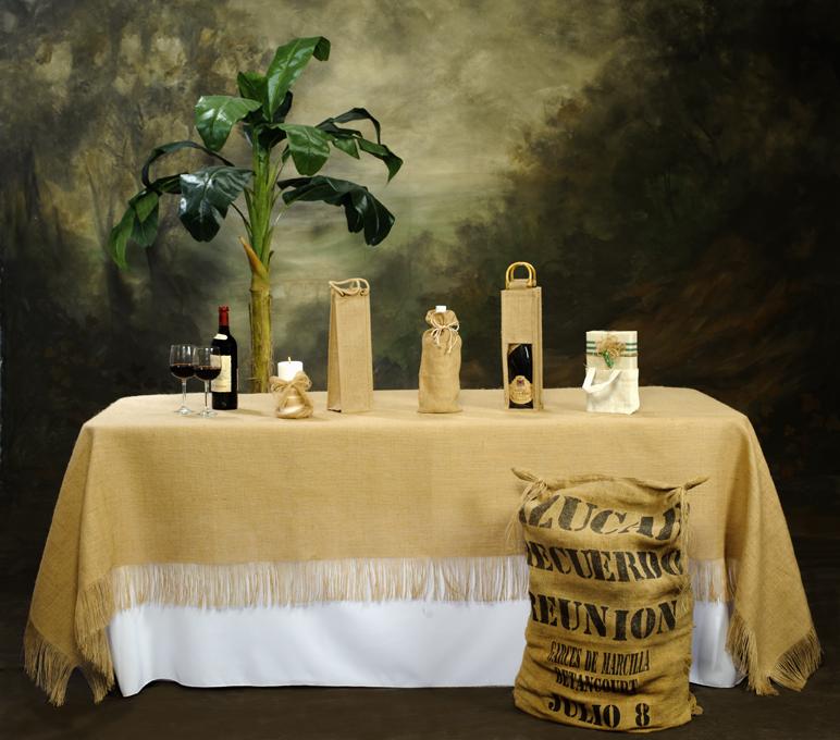 Fringed Burlap tablecloth